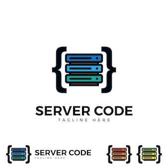 Serveur avec vecteur d'icône de code.