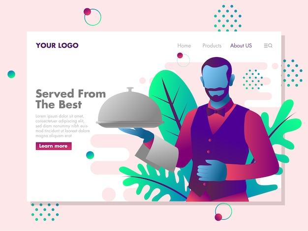 Les serveurs apportent une illustration du plateau de nourriture pour la page de destination
