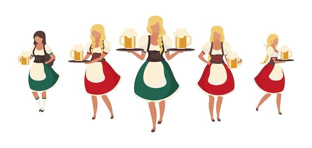Serveurs de bière oktoberfest féminins caractères vectoriels de couleur semi-plat