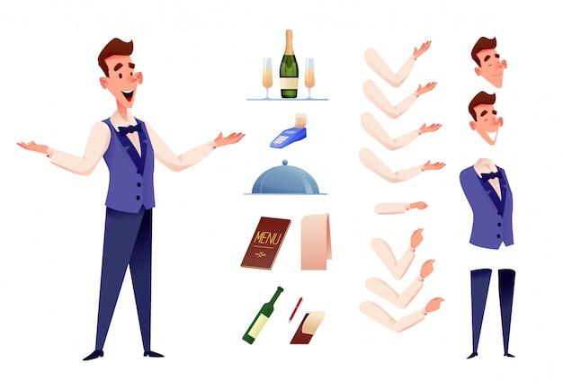 Serveurs gais servant au kit de création de restaurant