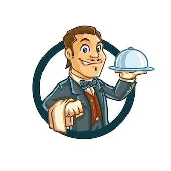 Serveuse dans emblem mascot design
