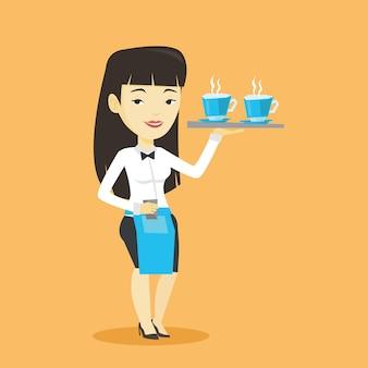 Serveuse tenant un plateau avec des tasses de café ou de thé.