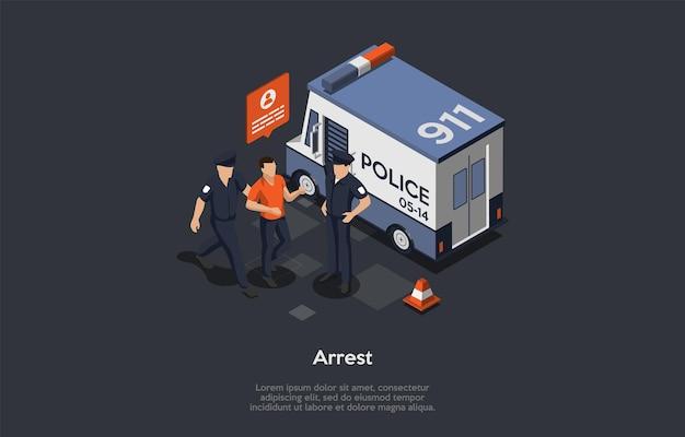 Service 911, appels d'urgence et problèmes avec le concept de loi. une demande d'assistance d'urgence. deux agents de police identifiant, détenant et arrêtant l'intrus