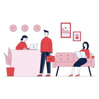Service d'accueil de bureau assurant le client par concierge