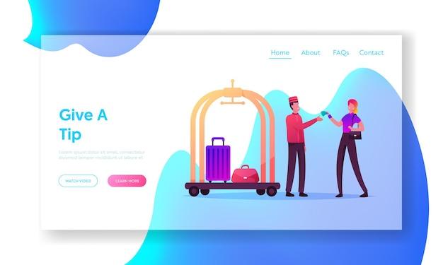 Service d'accueil, modèle de page de destination d'hôtesse