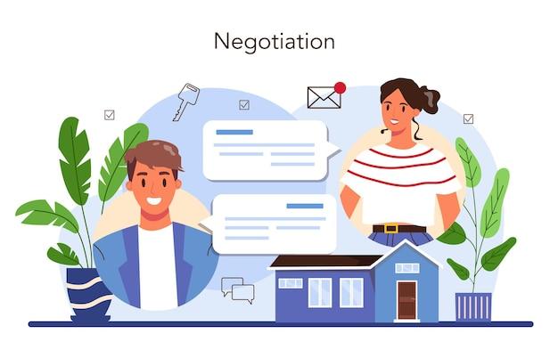 Service agence immobilière. entreprise d'achat et de vente de biens immobiliers.
