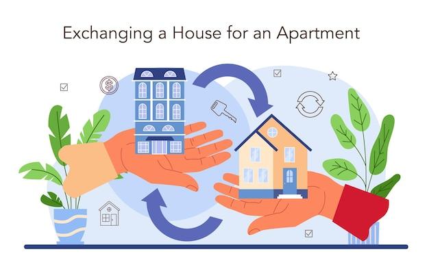 Service agence immobilière. service d'agent immobilier ou de courtier qualifié. échange de maison et d'appartement. commerce immobilier. illustration vectorielle plane