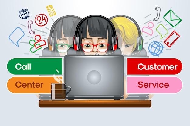 Service d'assistance client en ligne du centre d'appels.