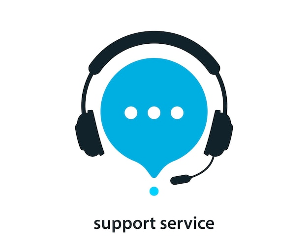 Service d'assistance avec des écouteurs. icône de support client. consultation, télémarketing, consultant, secrétaire