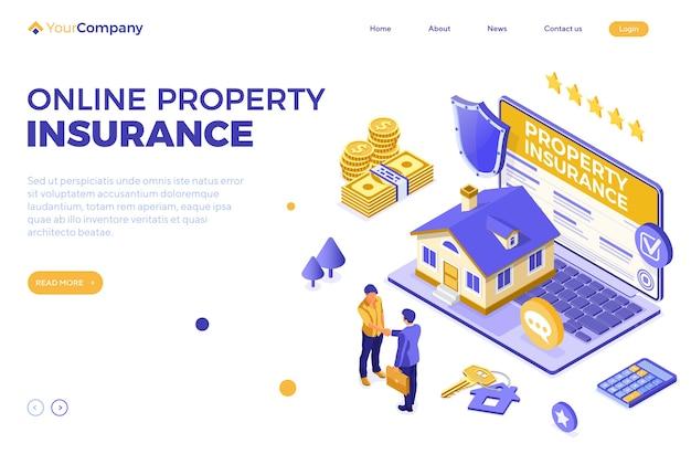 Service d & # 39; assurance immobilière en ligne vecteur isométrique