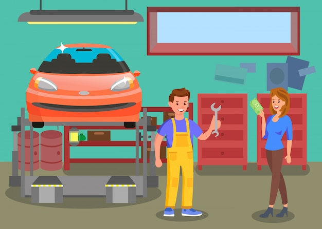 Service auto, illustration couleur plat d'atelier