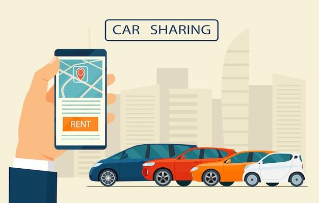 Service d'autopartage. illustration plate.