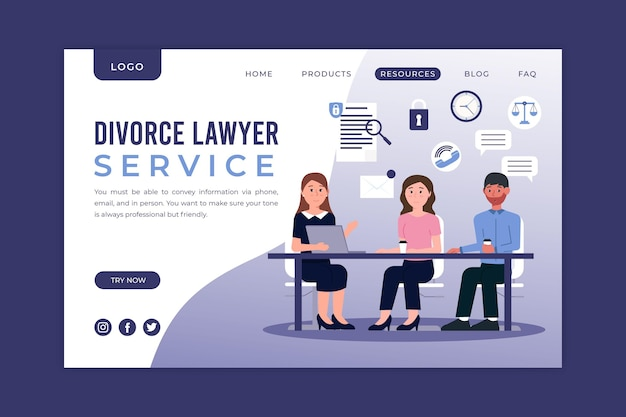 Service d'avocat en divorce - page de destination