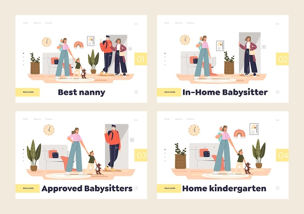 Service de baby-sitter et concept de jardin d'enfants à domicile