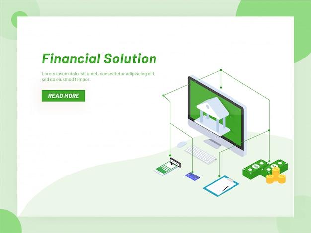 Service de banque en ligne ou conception isométrique de soutien monétaire.