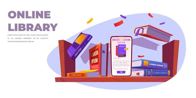 Service de bibliothèque en ligne, stand smartphone sur étagère avec livres
