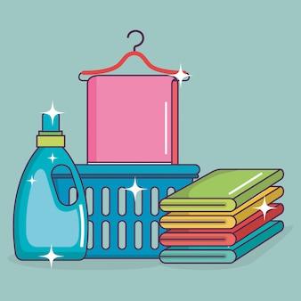Service de blanchisserie mis en icônes