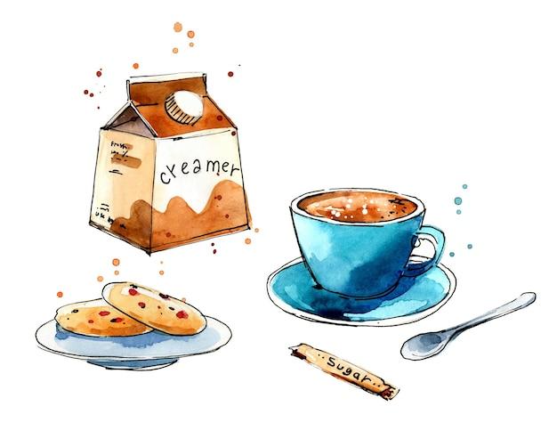 Service de café. café avec croquis à l'aquarelle de crémier et de biscuits