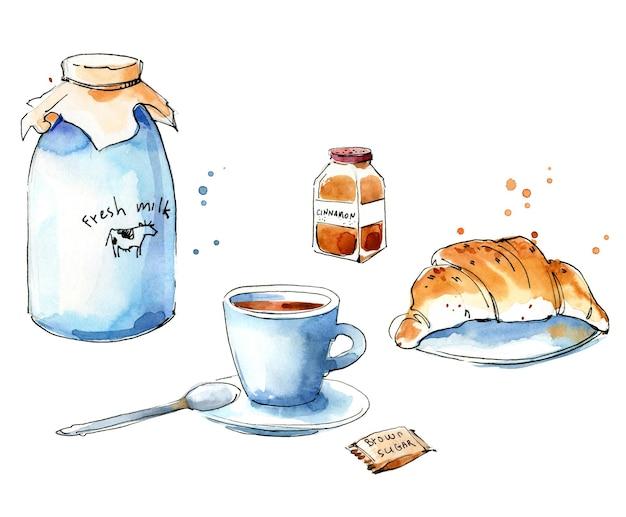 Service de café. croquis d'aquarelle de café et de croissant
