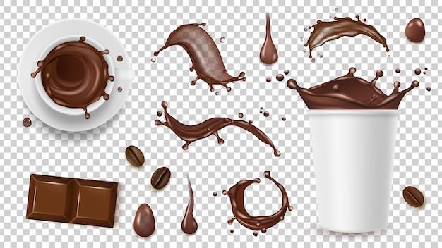 Service à café réaliste. boire des éclaboussures, des grains de café et une tasse à emporter, chocolat isolé sur fond transparent
