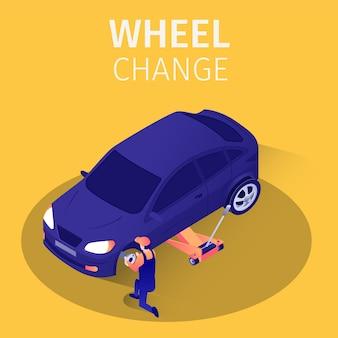 Service de changement de roue de bannière isométrique dans le garage.