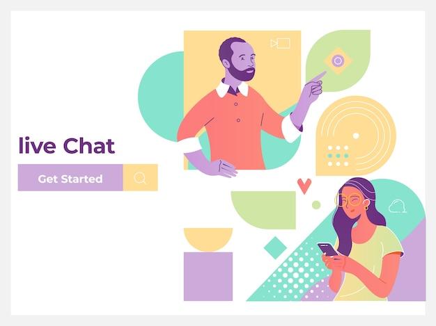 Service de chat en direct médias sociaux communication réseautage