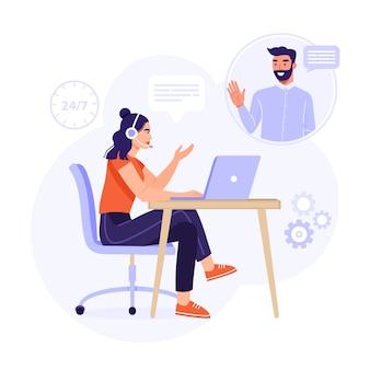 Service client, assistant en ligne ou concept de centre d'appels.