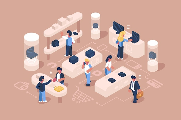 Service client à l'illustration du magasin d'électronique