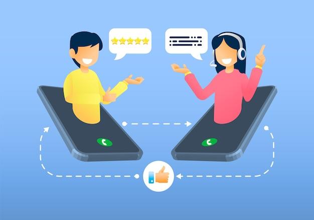 Service client, support client et client parlant au téléphone
