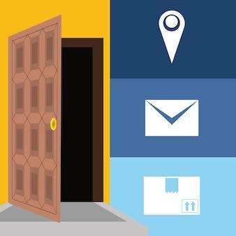 Service de colis de message et de boîte dans la porte