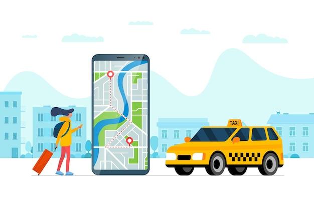 Service de commande de taxi app concept femme tenant un smartphone avec goupille de localisation gps géotag d'itinéraire