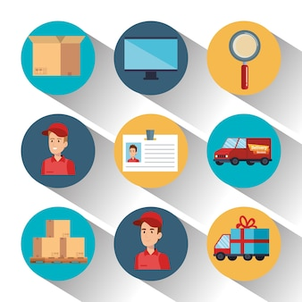 Service de livraison icônes set