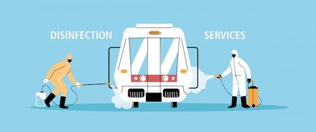 Service de désinfection du métro par coronavirus ou covid 19