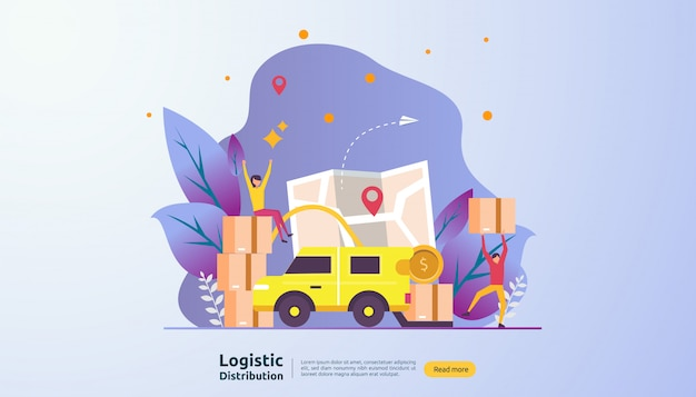 Service de distribution logistique globale et bannière d'expédition dans le monde entier avec caractère de personnes