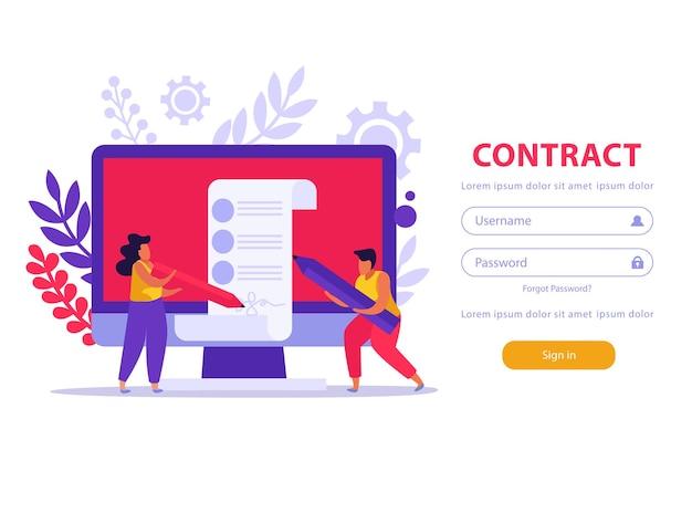 Service d'emploi et documents d'emploi apge d'atterrissage à plat avec bouton de connexion et composition d'image doodle