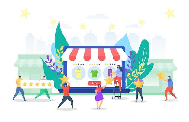 Service d'étoiles de magasin en ligne, illustration. vente de vêtements sur grand écran d'ordinateur, commentaires des clients. homme femme