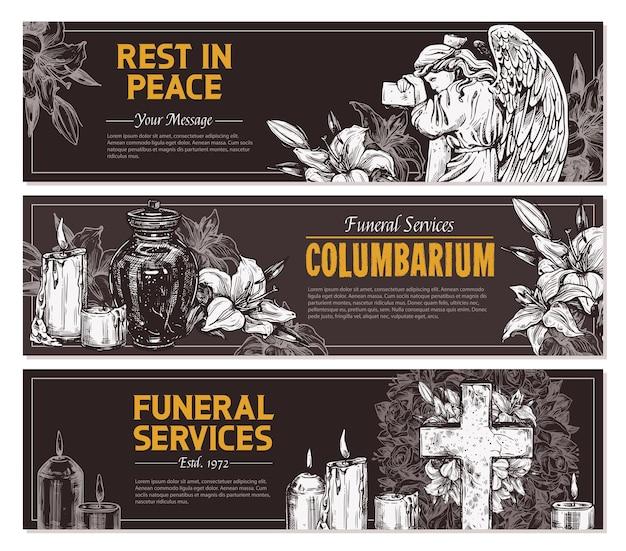 Service funéraire dessiné à la main des bannières horizontales avec illustration de croquis