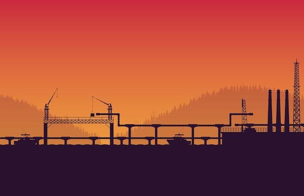 Service de gazoduc silhouette sur fond dégradé orange