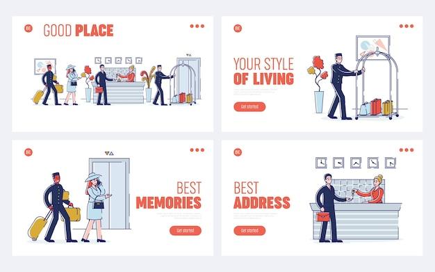 Service de l'hôtel et concept de personnel. page de destination du site web. le processus de réunion et d'hébergement des invités à l'hôtel. ensemble de pages web dessin animé contour plat linéaire.