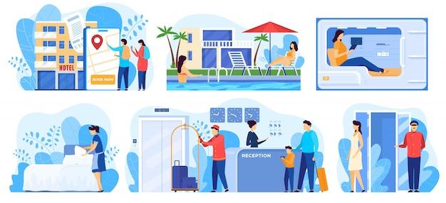 Service d'hôtel, personnages de dessins animés de personnes séjournant dans l'auberge, illustration
