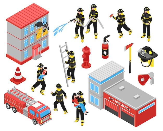 Service d'icônes isométrique des pompiers