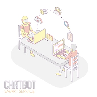Service intelligent chatbot isométrique