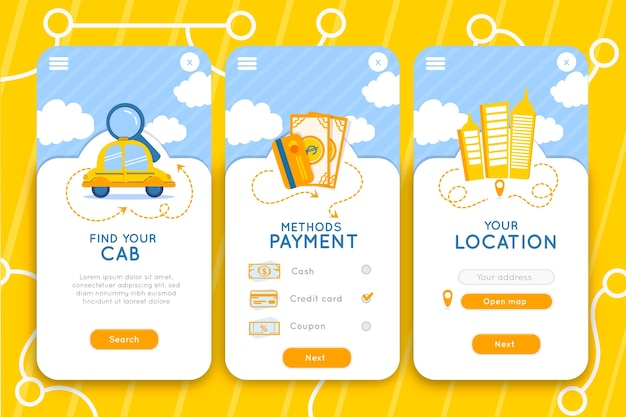 Service d'interface de l'application mobile cab