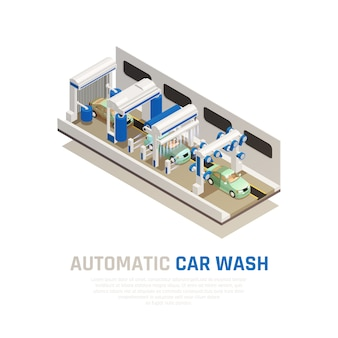 Service de lavage de voiture consept isométrique avec symboles de lavage de voiture automatique