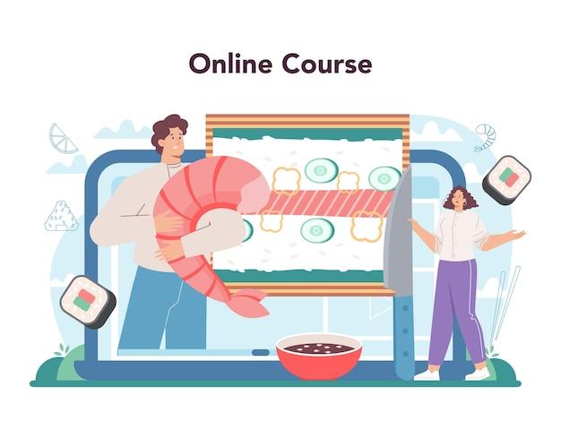 Service en ligne de chef de sushi ou rouleaux de cuisine de chef de restaurant de plate-forme