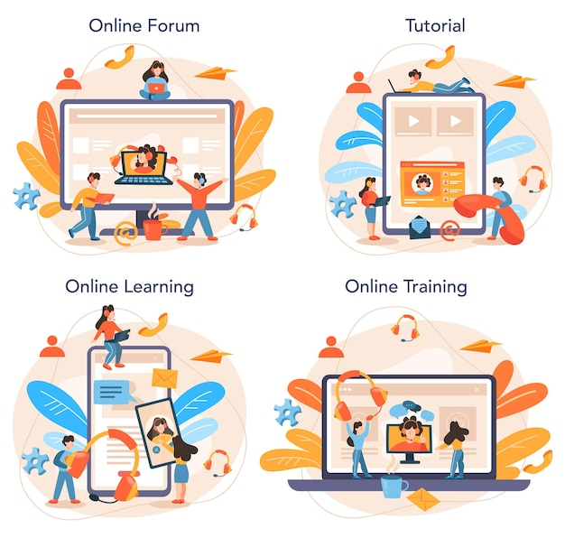 Service en ligne de conseil professionnel ou ensemble de plates-formes. idée de gestion de stratégie et de dépannage. forum en ligne, tutoriel, apprentissage, formation.