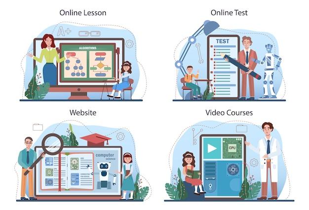 Service en ligne d'éducation informatique ou ensemble de plates-formes. les étudiants apprennent les algorithmes, l'ia et les ordinateurs, les scripts et la structure des données. cours en ligne, test, cours vidéo, site web. illustration vectorielle plane.