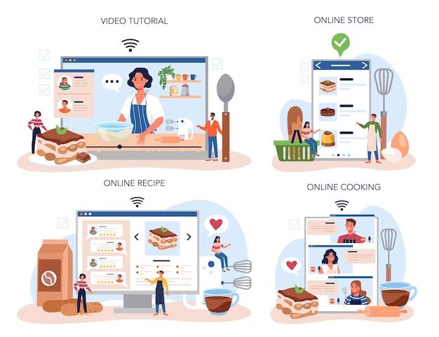 Service en ligne ou ensemble de plates-formes de desserts tiramisu. les gens cuisinent un délicieux gâteau italien. douce tranche de boulangerie de restaurant. cuisine en ligne, magasin, recette, tutoriel vidéo.