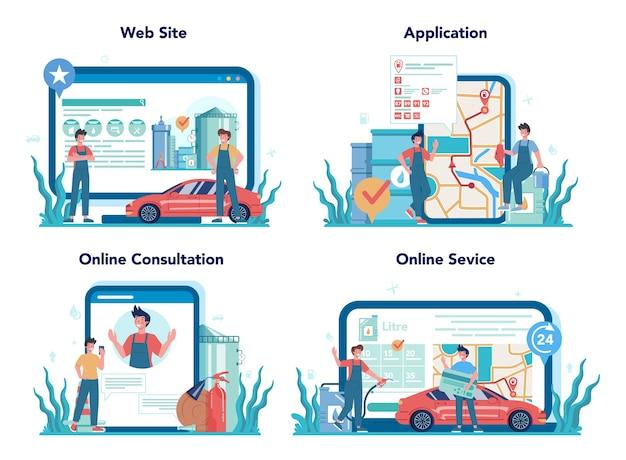 Service en ligne ou ensemble de plates-formes pour les travailleurs de la station-service ou les ravitailleurs