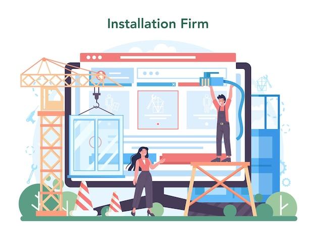 Service en ligne d'installateur ou travailleur de plate-forme dans l'installation uniforme